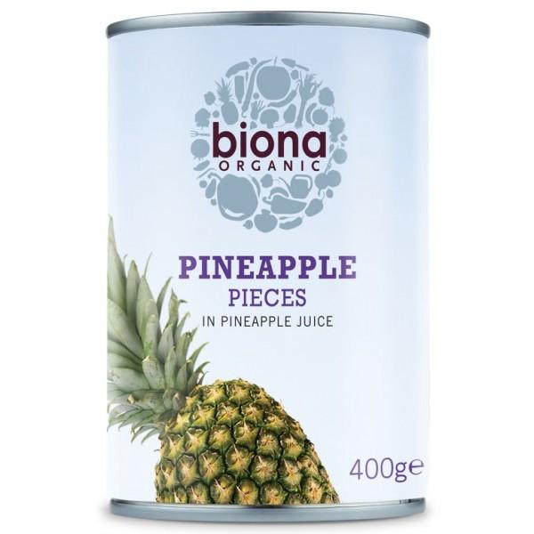 Ananas bucati in suc de ananas bio 400g