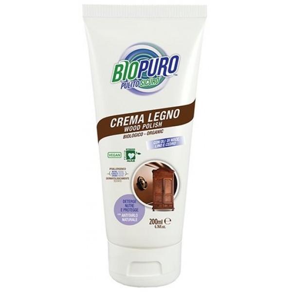 Biopuro Cremă hipoalergena pentru curățarea si intreținerea lemnului bio 300ml