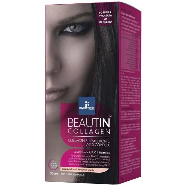 Beautin Colagen lichid cu Capsuni si Vanilie + Magneziu 500ml