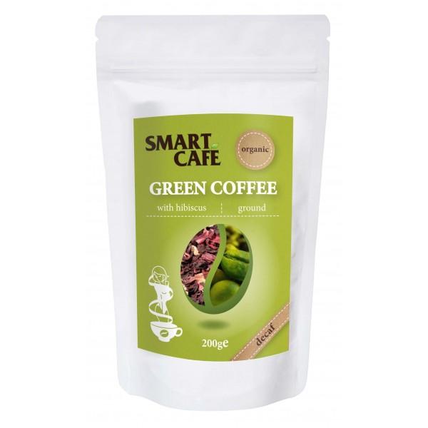 Cafea verde macinata decofeinizata cu hibiscus bio 200g