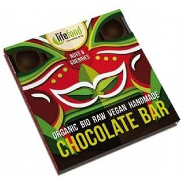 Ciocolata cu nuci si cirese raw bio 35g