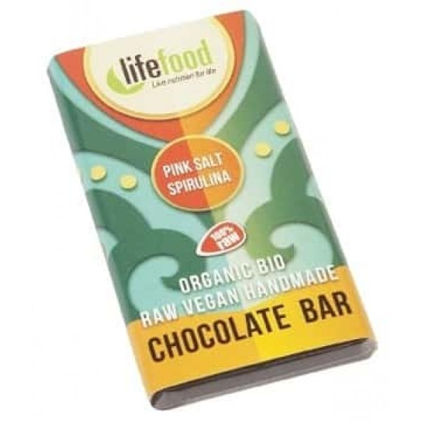 Ciocolata MINI cu spirulina si sare de Himalaya raw bio 15g