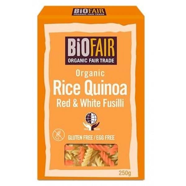 Fusilli din orez si quinoa rosie si alba bio 250g