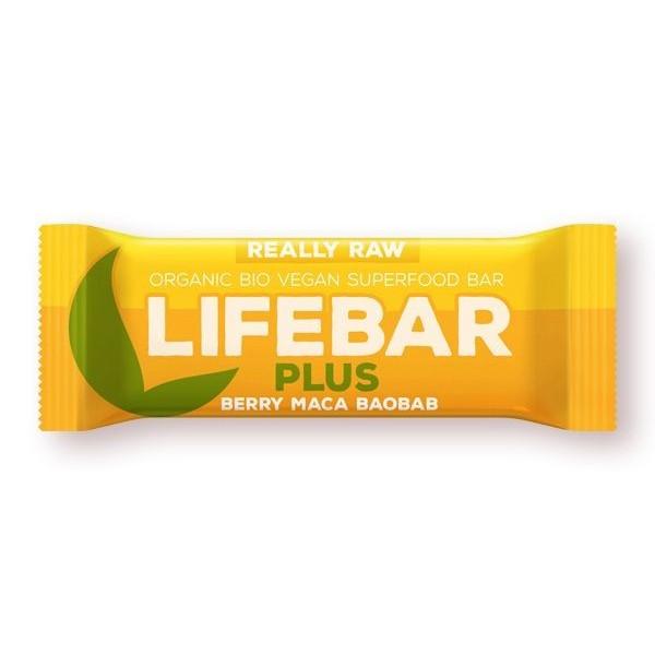 Lifebar Plus baton cu fructe, maca si baobab raw bio 47g