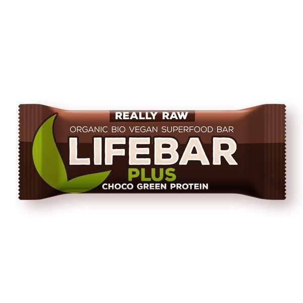 Lifebar Plus baton cu proteine si ciocolată raw bio 47g
