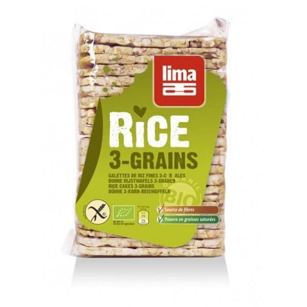 Rondele de orez expandat cu 3 cereale bio 130g