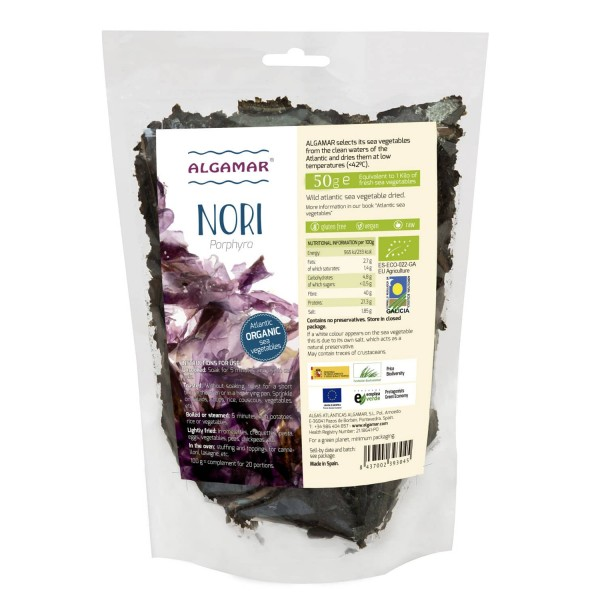 Alge nori maruntite raw bio 50g Algamar