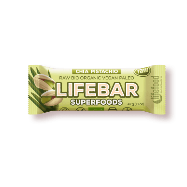 Lifebar plus baton cu chia, orz verde si fistic raw eco 47g