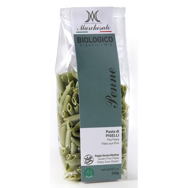 Marchesato Penne din mazare verde fara gluten, bio, 250g