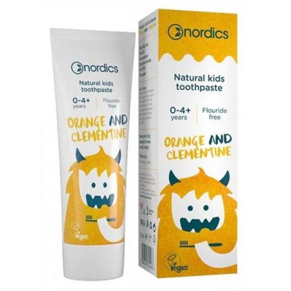 Nordics Pasta de dinti naturala pentru copii cu portocale si clementine 50ml