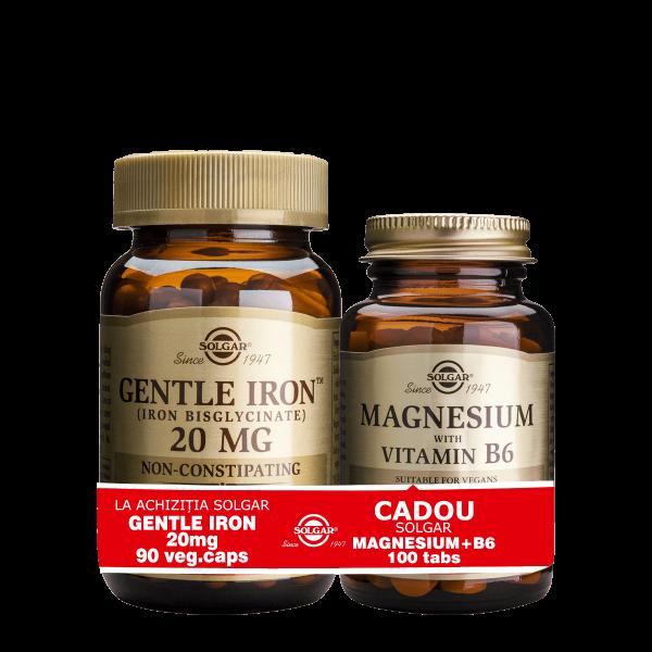 Solgar Gentle Iron 20mg 90cps + Magnesium cu B6 100 tablete GRATIS