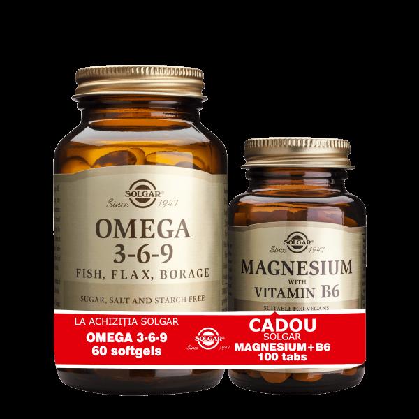 Solgar Pachet Omega 3-6-9 60cps + Magnesium cu B6 100 tablete GRATIS