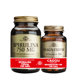 Solgar Spirulina 750mg 100 tablete si Magnesium cu B6 100 tablete GRATIS