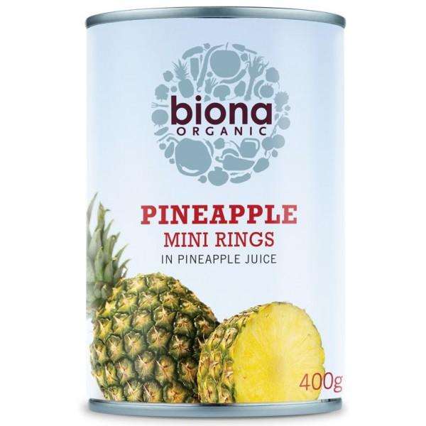 Rondele mini de ananas in suc de ananas bio 400g