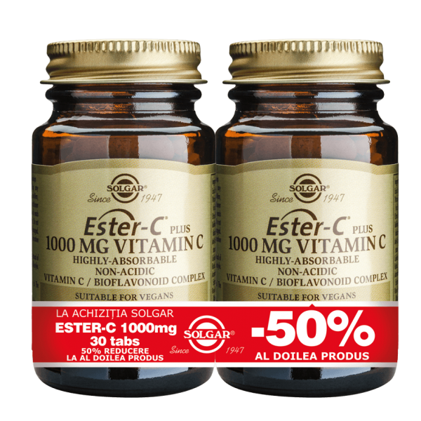 Solgar Ester-C 1000mg 30 tablete PACHET 1+1-50%