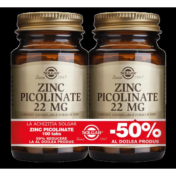 Solgar Zinc Picolinate 22mg 100 tablete PACHET 1+1-50%