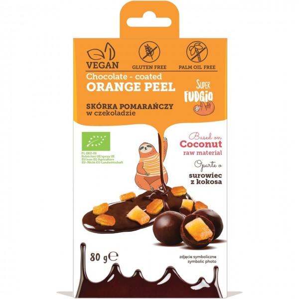 Super Fudgio Coaja de portocala invelita in ciocolata bio 80g